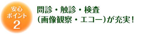 安心ポイント2 問診・触診・検査(画像観察・エコー)が充実!